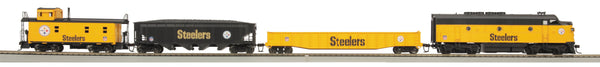 MTH 81-4007-1 Pittsburgh Steelers HO Scale MTH F-3 Diesel R-T-R Deluxe Freight Train Set w/Proto-Sound 3.0