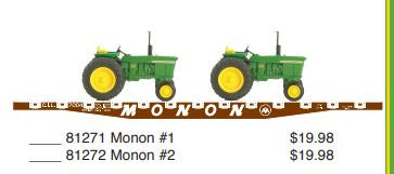 Athearn 81272 Monon HO Scale Flat car with 2 John Deere Tractors Used