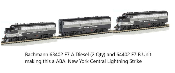 Bachmann 64302 New York Central NYC (Lightning Stripe) F7 A Diesel Locomotive with DCC Sound (2 Qty) and Bachmann 64402 NYC F7 B Diesel Locomotive DCC Sound
