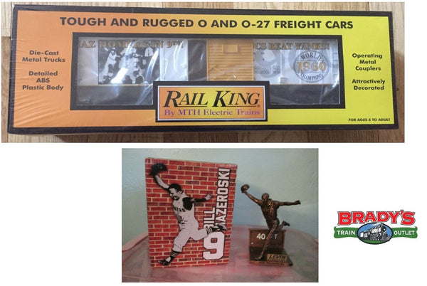 MTH 30-74129 Mazeroski World Series Homer Boxcar SEALED and the Mazeroski Pirates Levin Furniture Statue from Ball game.