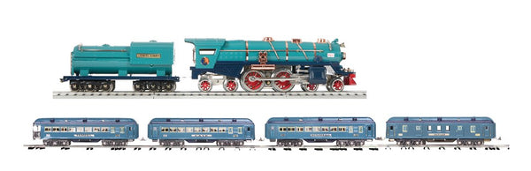 MTH 11-1072-1  Lionel Lines (Two Tone Blue - Brass) 400E Tinplate Steam Engine w/Proto-Sound 3.0 with 11-40127 Blue Comet 4 Car Passenger Set Standard Gauge Tinplate