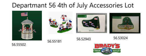 Department 56 Fourth of July Celebration (July 4th) Kiddie Parade 56.55181 American Flags 56.52943 Stars and Stripes Gazebo 56.55502 Decorating Set 56.53024