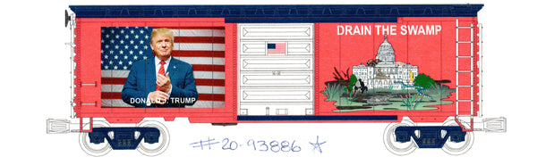 "MTH Premier 20-93886 Trump ""Drain the Swamp"" 40' Boxcar Brady's Train Outlet Exclusive"
