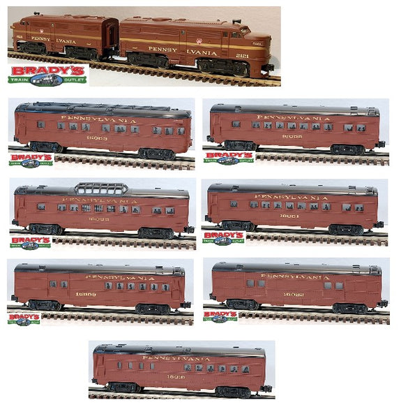 K-Line 2121 Pennsylvania Railroad PRR Alco Diesel Engine AA Set with 6-16000 PRR Vista Dome Car 6-16001 PRR Passenger Car 6-16002 PRR Passenger Car 6-16003 PRR Observation Car 6-16009 PRR Combo Car 6-16022 PRR Baggage Car 6-16031 PRR Dining Car Used