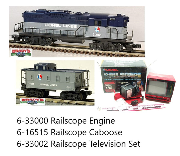 Lionel 6-33000 Railscope Diesel Engine with video camera and 6-16515 Railscope Caboose