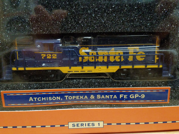 Lionel Series Big Rugged Trains Atchison, Topeka & Santa Fe GP-9 Diesel Engine #722 Diecast Toy Engine 1:120 Scale in Decorative Tin