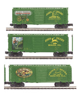 MTH Premier 20-93099 John Deere 40' Box Car 3 Pack Set features Tractor, Boy on Tractor and Waterloo Boy ABC