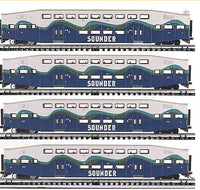 "K-Line K-4636F Sounder 21"" Bombardier Commuter Car 4-Pack"