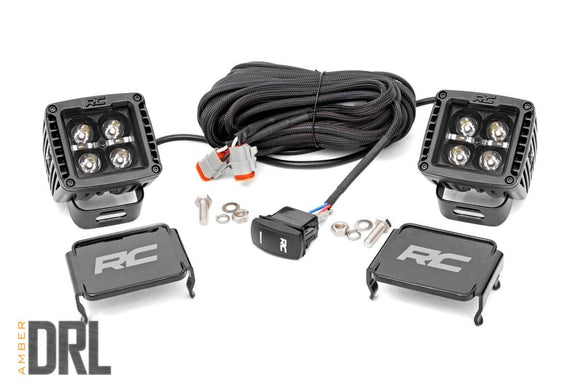 ROUGH COUNTRY 2-INCH SQUARE CREE LED LIGHTS - (PAIR | BLACK SERIES W/ AMBER DRL)