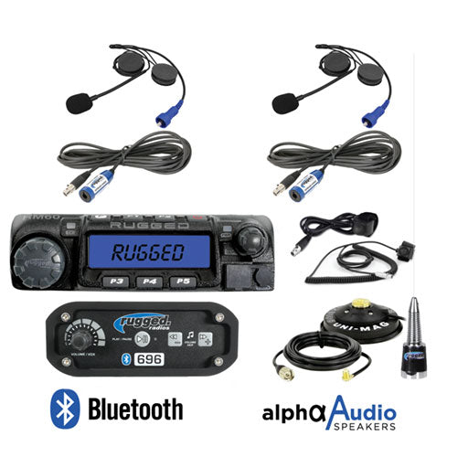 RRP696 2-Place Intercom with Digital Mobile Radio and Alpha Audio Helmet Kits by Rugged Radios