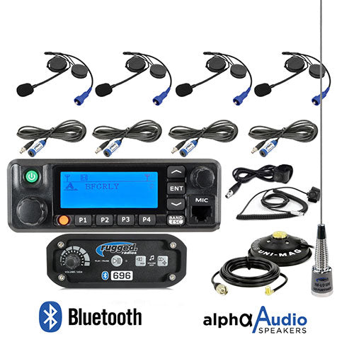 RRP696 4-Place Intercom with Digital Mobile Radio and Alpha Audio Helmet Kits by Rugged Radios