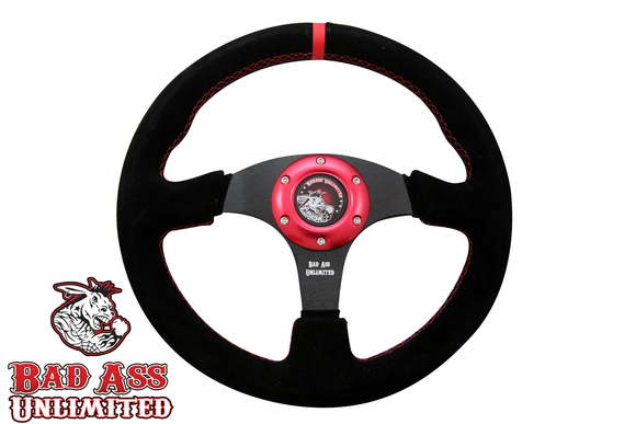 BAU (Bad Ass Unlimited) Black Suede Steering wheel with Red Stitching