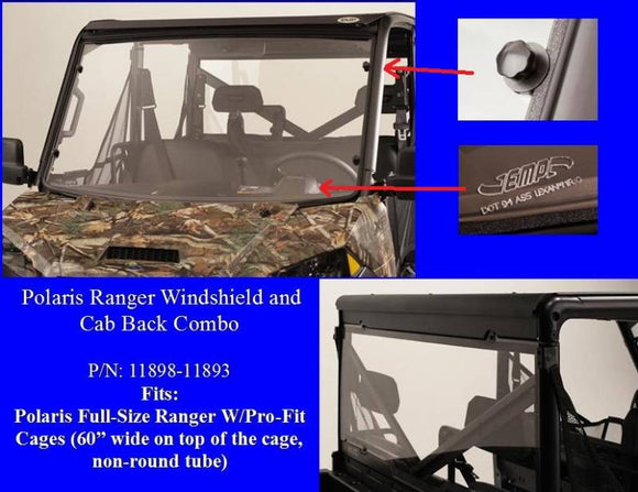Ranger XP900, Full Size Ranger XP570 and Ranger XP1000 Hard Coat Windshield Combo by EMP