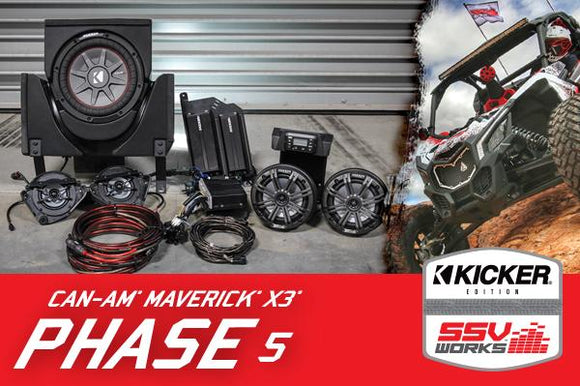 SSV Works X3-5K CAN-AM MAVERICK X3 COMPLETE KICKER 5 SPEAKER PLUG-AND-PLAY SYSTEM