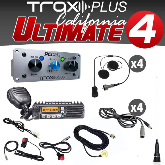Trax Plus California Ultimate 4 (4 Person Stereo intercom and radio kit w/helmet wiring) by PCI Race Radios