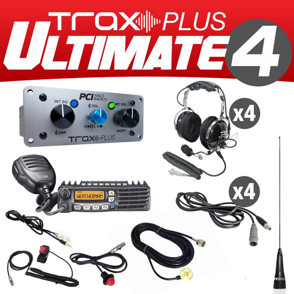 Trax Plus Ultimate 4 (4 Person Stereo intercom and radio kit) by PCI Race Radios