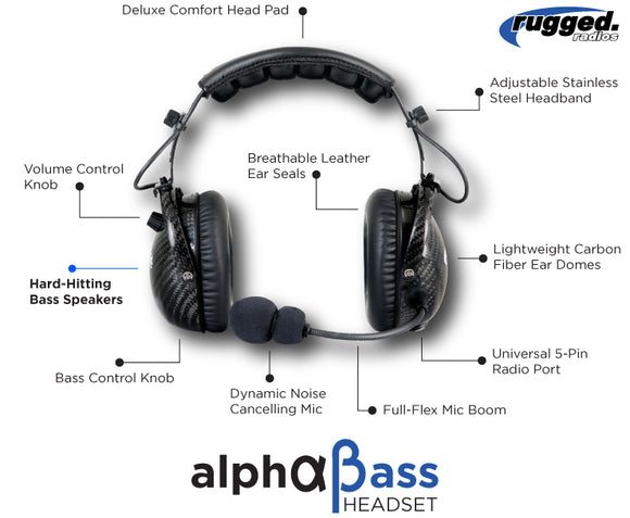 AlphaBass Headset w/ Offroad Cable By Rugged Radio
