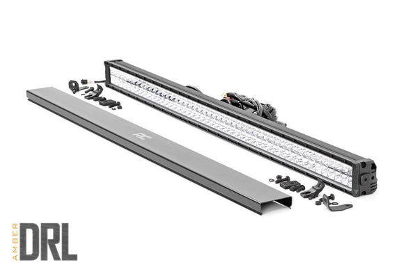 ROUGH COUNTRY 50-INCH CREE LED LIGHT BAR - (DUAL ROW | CHROME SERIES W/ AMBER DRL)