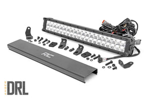 ROUGH COUNTRY 20-INCH CREE LED LIGHT BAR - (DUAL ROW | CHROME SERIES W/ AMBER DRL)