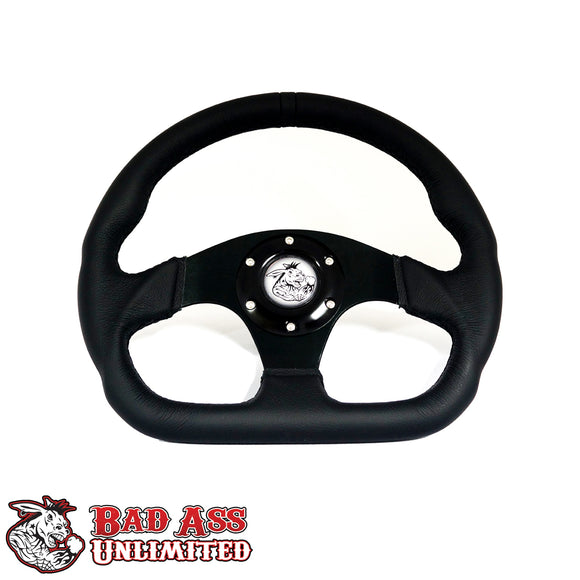 BAU D-RING LEATHER STEERING WHEEL-6 HOLE