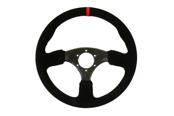 Shallow Carbon Fiber Round Suede UTV Steering Wheel by DragonFire