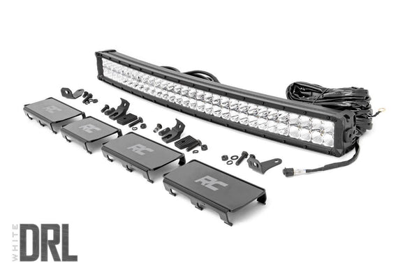 ROUGH COUNTRY 30-INCH CURVED CREE LED LIGHT BAR - (DUAL ROW | CHROME SERIES W/ COOL WHITE DRL)