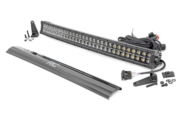 ROUGH COUNTRY 30-INCH CURVED CREE LED LIGHT BAR - (DUAL ROW | BLACK SERIES W/ COOL WHITE DRL)