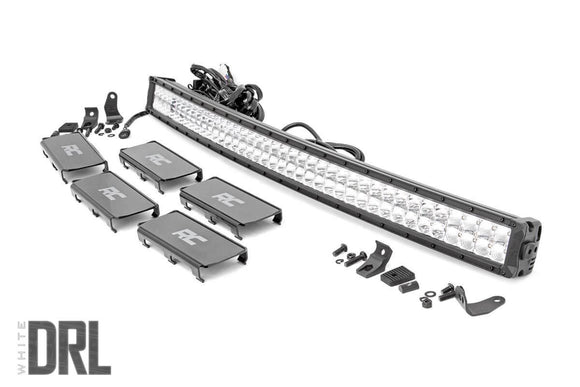 ROUGH COUNTRY 40-INCH CURVED CREE LED LIGHT BAR - (DUAL ROW | CHROME SERIES W/ COOL WHITE DRL)