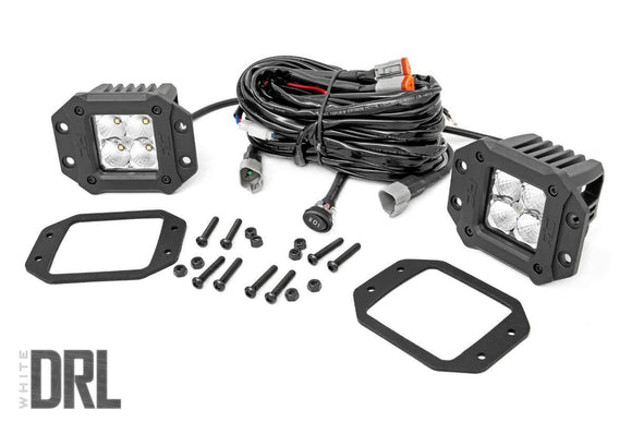 ROUGH COUNTRY 2-INCH SQUARE FLUSH MOUNT CREE LED LIGHTS - (PAIR | CHROME SERIES W/ COOL WHITE DRL)