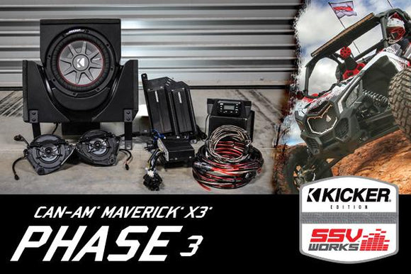 SSV Works X3-3K CAN-AM MAVERICK X3 COMPLETE KICKER 3 SPEAKER PLUG-AND-PLAY SYSTEM