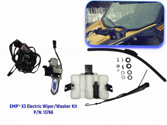 Can-Am Maverick X3 Electric Wiper and Washer Kit (Lower Mount) - by EMP