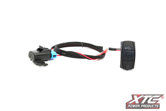 XTC RZR XP Plug & Play Dual USB Power Port DC5V 4.2A w/Blue LED, USB Cover & Harness