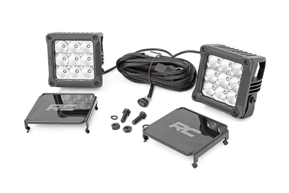 ROUGH COUNTRY 4-INCH SQUARE CREE LED LIGHTS - (PAIR | CHROME SERIES W/ COOL WHITE DRL)