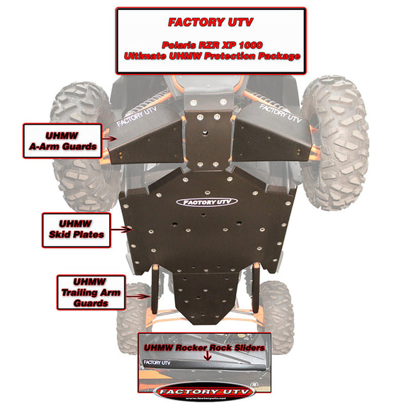 Polaris RZR XP 1000 Ultimate UHMW Skid Plate Package by Factory UTV