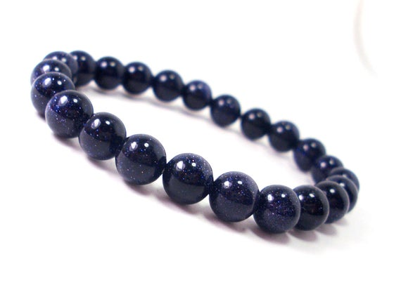 Blue Goldstone Gemstone Bracelet | Yoga Mala