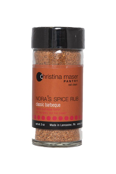 Classic BBQ Spice Rub in a class jar with brown label with red accents. Great for on the grill.