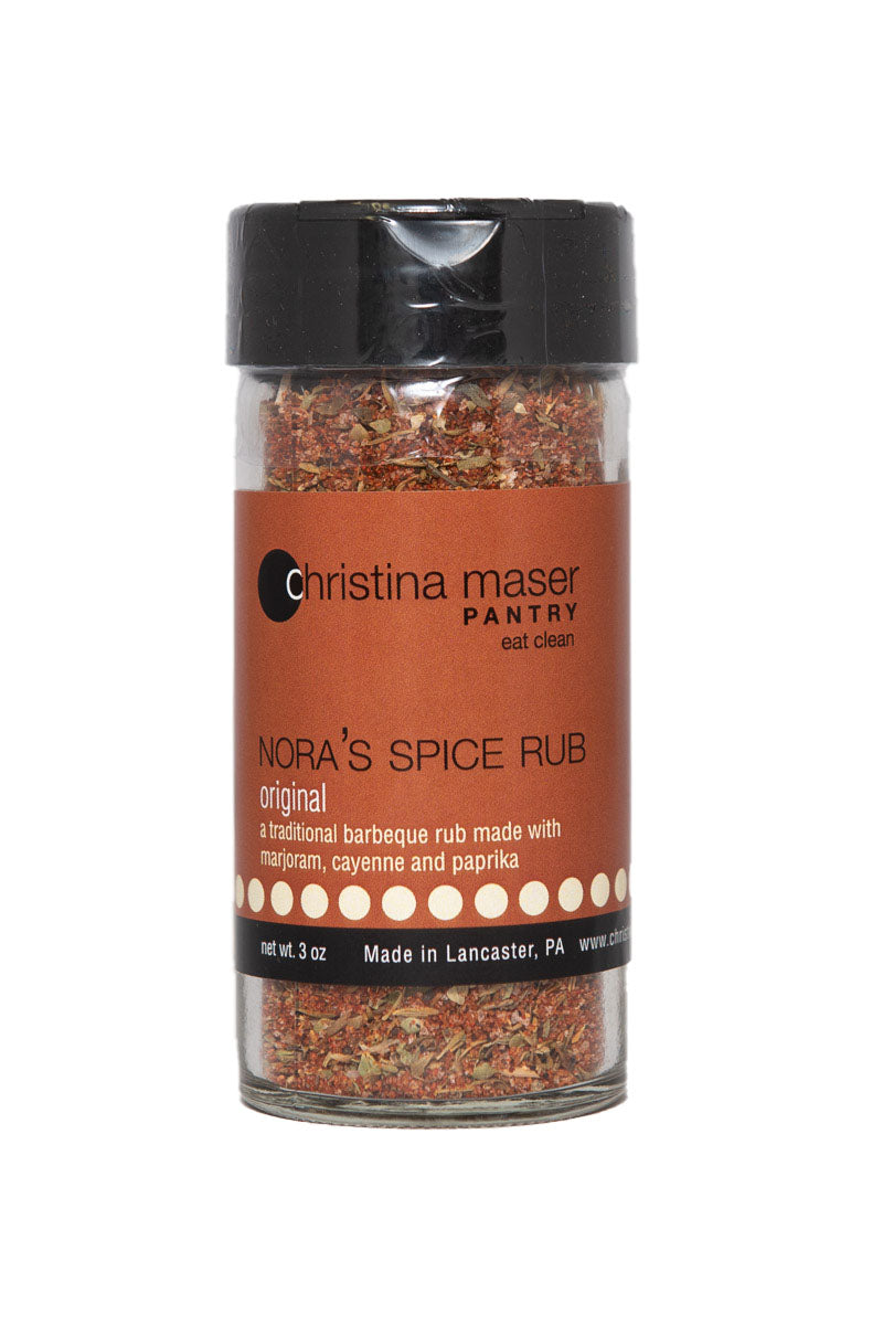Original Spice rub in glass jar with black lid and rich brown label. Great on the grill.