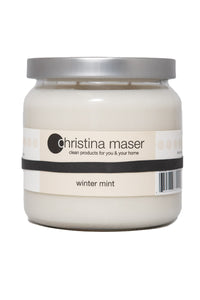Christina Maser Co. Winter Mint Soy Wax Candle 16 oz glass jar.