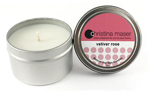 Christina Maser Co. Vetiver Rose Soy Wax Candle 6 oz metal tin.