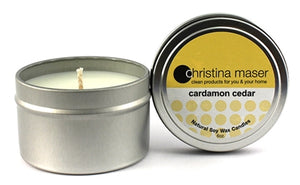 Christina Maser Co. Cardamom Cedar Soy Wax Candle 6 oz metal tin.
