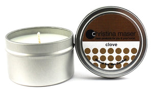 Christina Maser Co. Clove Soy Wax Candle 6 oz metal tin.