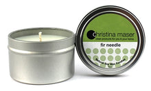 Load image into Gallery viewer, Fir Needle soy wax candle in silver metal tin. Tin has a lid and feature a forest green label.