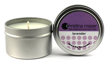 Load image into Gallery viewer, Lavender soy wax candle in silver metal tin with lid and purple label.
