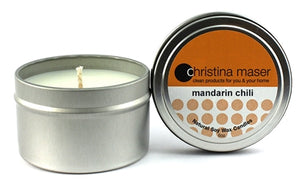 Christina Maser Co. Mandarin Chili Soy Wax Candle 6 oz metal tin.
