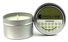 Load image into Gallery viewer, Rosemary soy wax candle in silver metal tin with lid featuring forest green label.
