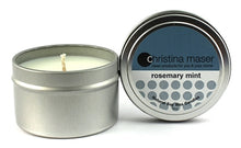 Load image into Gallery viewer, Rosemary mint soy wax candle in silver metal tin with lid featuring teal label.