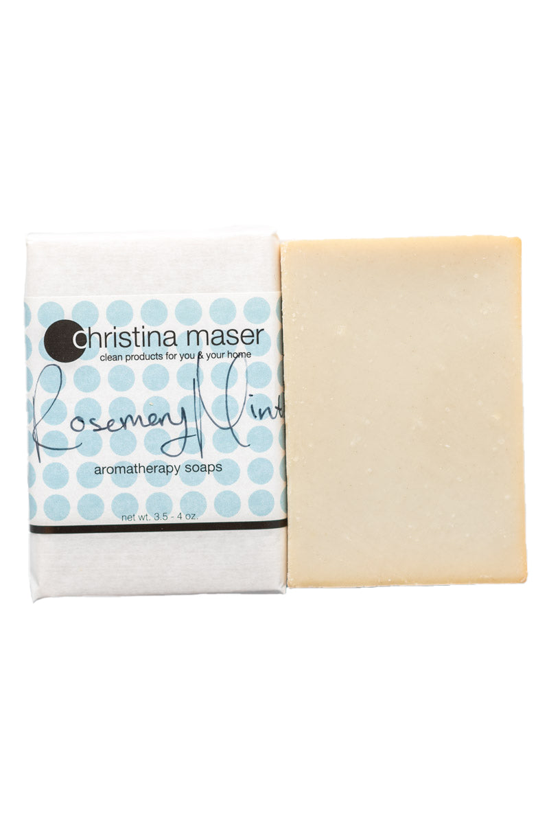 Rosemary mint vegan bar soap. Soap is natural colored. Wrapped in white paper with light blue dots