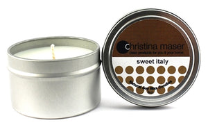 Christina Maser Co. Sweet Italy Soy Wax Candle 6 oz metal tin.