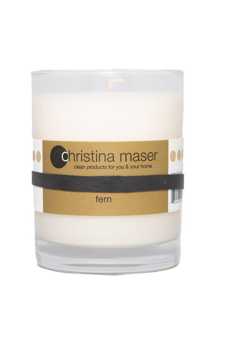 Christina Maser Co. Fern Soy Wax Candle 10 oz. glass tumbler.