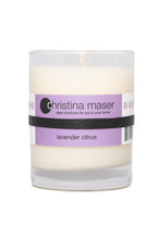 Load image into Gallery viewer, Christina Maser Co. Lavender Citrus Soy Wax Candle 10 oz glass tumbler.